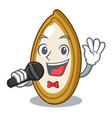 singing fresh pumpkin seeds on plate cartoon vector image