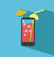 smartphone filled with fresh juice vector image vector image
