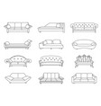 sofa colored set collection of sofa vector image