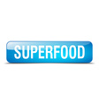 superfood blue square 3d realistic isolated web vector image vector image