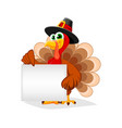 thanksgiving day funny cartoon character turkey vector image