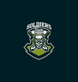 the emblem of the soldier logo military skull vector image vector image
