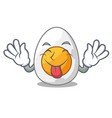 tongue out freshly boiled egg isolated on mascot vector image vector image