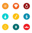 treasure icons set flat style vector image vector image