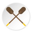 two wooden crossed oars icon circle vector image vector image