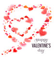 valentines day card with red petals and hearts vector image vector image