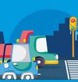 vehicles waiting traffic light vector image