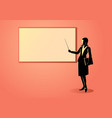 woman figure standing near whiteboard vector image vector image
