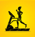 woman running on treadmill graphic vector image vector image
