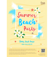 Yellow summer beach party poster template vector image vector image