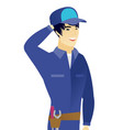 young asian mechanic laughing vector image vector image