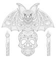 zentangle stylized bat seating on sugar skull vector image vector image
