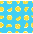 Blue and yellow lemon textile print seamless vector image