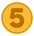 five gold coin vector image