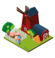 3d design for windmill and barn on the farm vector image vector image