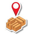 a sticker template with location pin on many boxs vector image
