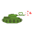 Army Tank love Green shoots military machine vector image vector image