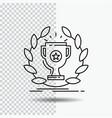 award cup prize reward victory line icon on vector image vector image