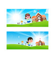 back to school concept blank banner template vector image vector image