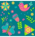 background with birds butterflies and flowers vector image