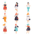 beautiful plus size women in fashionable clothes vector image