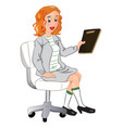 businesswoman holding a file vector image vector image
