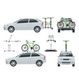 car is transporting bicycles on the roof and bikes vector image vector image