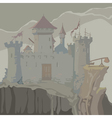 Cartoon gray medieval fortress towers on a rock