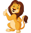 cartoon lion giving thumb up vector image vector image