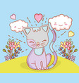 cat with kawaii clouds and flowers plants vector image
