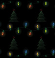 christmas electric garland with christmas tree vector image vector image