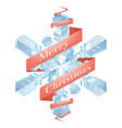christmas snowflake with ribbon vector image vector image