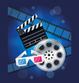 cinema entertainment with reel and clapperboard vector image vector image