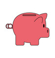 color silhouette cartoon side view pink piggy bank vector image
