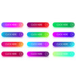 colorful click here icons with arrow isolated on vector image
