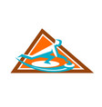 curling player sliding stone triangle icon vector image