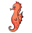 cute seahorse on white background vector image vector image