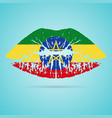 ethiopia flag lipstick on the lips isolated on a vector image vector image