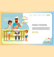 family cooking landing page website vector image vector image