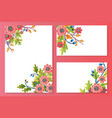 floral cards set with spring flowers peony vector image vector image