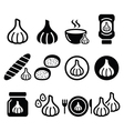 Garlic food icons set - garlic sauce soup bread vector image vector image