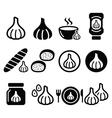 Garlic food icons set - garlic sauce soup bread vector image vector image