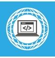 globe computer web page code communication vector image