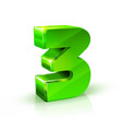 glossy green three 3 number 3d on vector image vector image