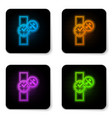 glowing neon wrist watch with screwdriver and vector image vector image