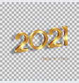 golden 2021 new year 3d logo for holiday cards vector image
