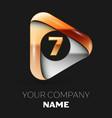 golden number seven logo in golden-silver triangle vector image vector image