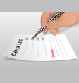 hand with ballpoint pen vector image
