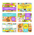 Happy Easter Template Invitation Modern Flat Set vector image vector image