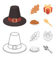 hat of a pilgrim oak leaf gift in a box fried vector image